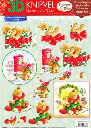 Christmas Popcorn The Bear No 18 3d Decoupage Craft Sheet